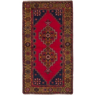 eCarpetGallery Red, Gold, Navy Wool Hand-knotted Anadol Vintage Rug (3'9 x 7'1)