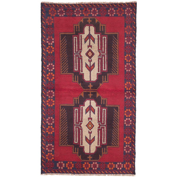eCarpetGallery Kazak Red Wool Hand-knotted Rug - 3'6 x 6'4