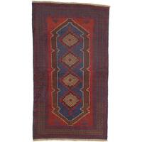 eCarpetGallery Baluch Blue/Red Wool Hand-knotted Rug (3'6 x 6'2)