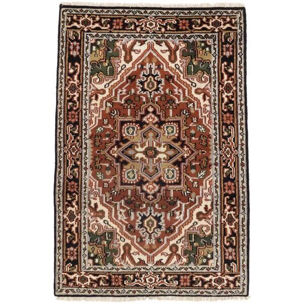 eCarpetGallery Royal Heriz Orange/Beige Cotton/Wool Hand-knotted Rug (4'1 x 6') - 4'1 x 6'
