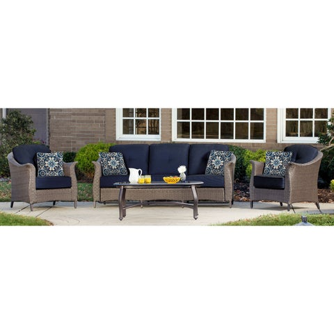 Hanover Outdoor GRAMERCY4PC-NVY Gramercy Navy Blue Four-piece Seating Set