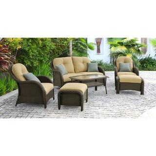 Hanover Outdoor Newport Six-piece Woven Seating Set in Cream