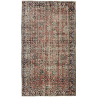 eCarpetGallery Melis Blue and Orange Cotton and Wool Hand-knotted Vintage Rug (3'8 x 6'6)