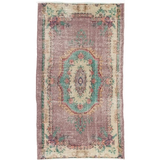 eCarpetGallery Anatolian Ivory/Purple Cotton/Wool Hand-knotted Vintage Rug (3'8 x 6'6)