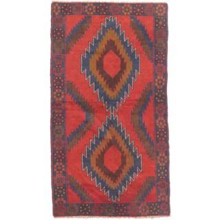 eCarpetGallery Kazak Blue/Red Wool Hand-knotted Rug (3'5 x 6'4)