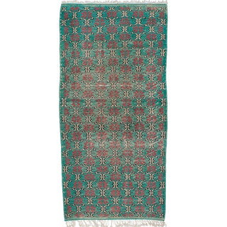 Ecarpetgallery Melis Green/Black Cotton/Wool Hand-knotted Vintage Rug (3'5 x 7'1)