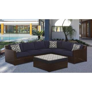 Hanover Metropolitan Blue Aluminum Outdoor 5-piece Lounge Set