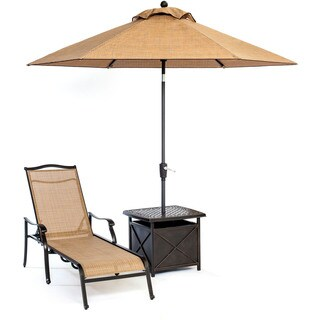 Hanover Outdoor Monaco Chaise Lounge Chair with 11-foot Umbrella and Side Table