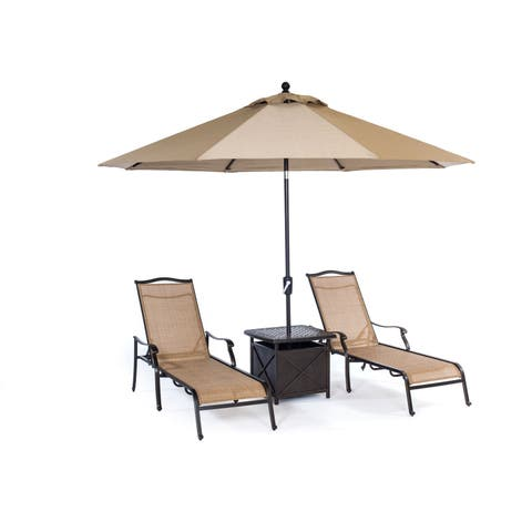 Hanover Outdoor Monaco 4-piece Chaise Lounge Set with 11-foot Umbrella and Side Table
