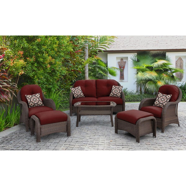 Hanover newport 6 piece woven outdoor seating set in crimson red