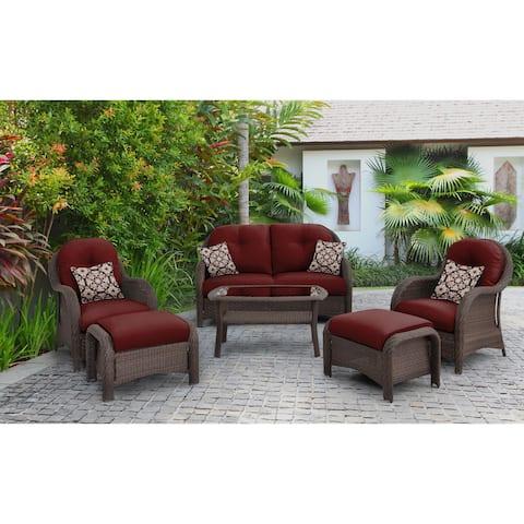 Hanover Newport 6-piece Woven Outdoor Seating Set in Crimson Red