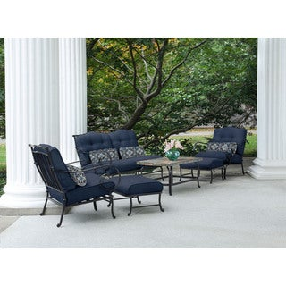 Hanover Oceana Navy Blue Steel 6-piece Outdoor Patio Set with Stone-top Coffee Table