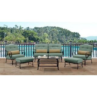 Hanover Outdoor Oceana Ocean Blue 6-piece Patio Set with Tile-top Coffee Table
