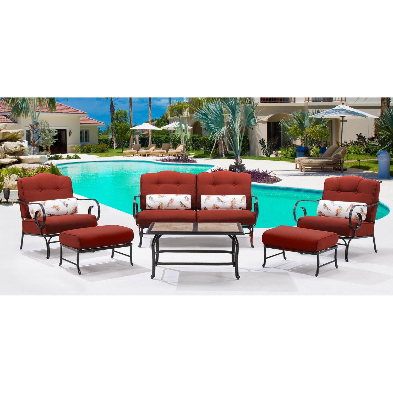 Hanover Outdoor Oceana Crimson Red 6-piece Patio Set With...