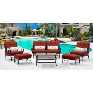 Hanover Outdoor Oceana Crimson Red 6-piece Patio Set With Tile-top Coffee Table