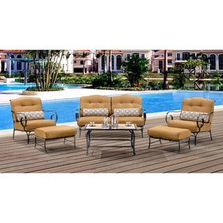 Hanover Oceana Tan Rattan Outdoor 6-piece Patio Set