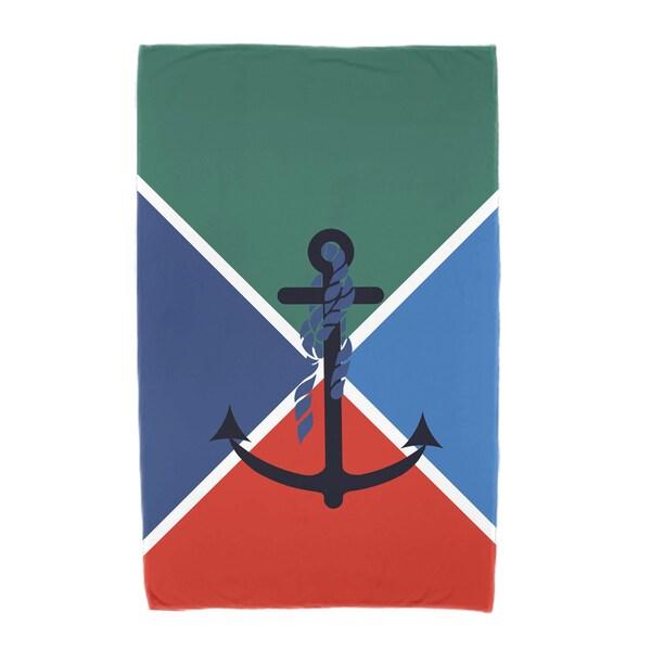 30 x 60-inch Anchor Flag Geometric Print Beach Towel