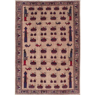 eCarpetGallery Rare War Ivory/Blue Wool Hand-knotted Rug (6'8 x 9'11)