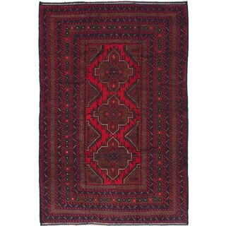 Ecarpetgallery Red/Cream Wool Finest Rizbaft Hand-knotted Rug (6'7 x 9'9)