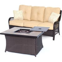 Hanover Outdoor Orleans 2-piece Woven Fire Pit Set in Sahara Sand