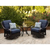 Hanover ORLEANS3PCSW-B-NVY Orleans Navy Blue Rattan 3-piece Outdoor Swivel Rocking Chat Set