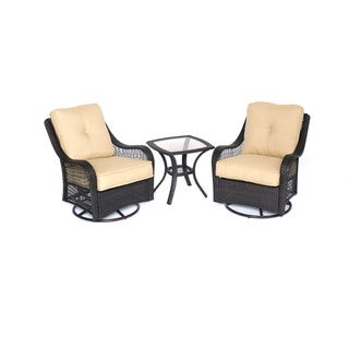 Hanover Outdoor Orleans Three-piece Sahara Sand Swivel Rocking Chat Set