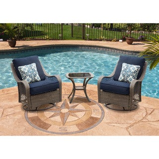 Hanover Outdoor Orleans Navy Blue 3-piece Swivel Rocking Chat Set