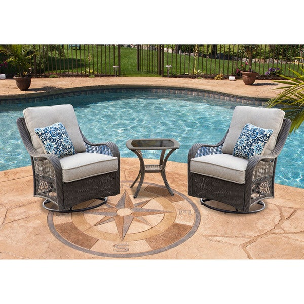 Hanover Outdoor Orleans 3 Piece Swivel Rocking Chat Set In Silver Lining