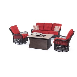 Hanover Outdoor Orleans Autumn Berry 4-piece Woven Lounge Set with Fire Pit Table