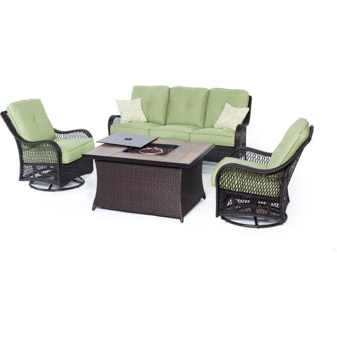 Hanover Outdoor Orleans Four-piece Woven Lounge Set with Fire Pit Table in Avocado Green