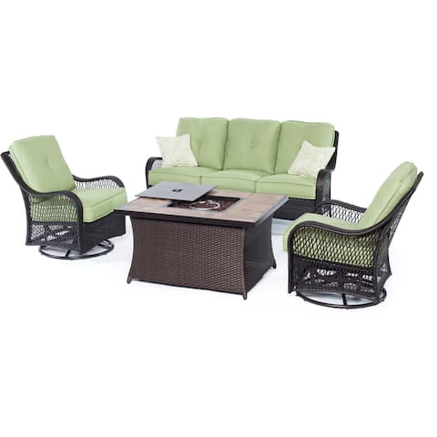 Hanover Outdoor Orleans 4-piece Woven Lounge Set with Fire Pit Table in Avocado Green