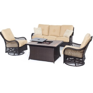 Hanover Orleans Sahara Sand Resin Wicker 4-piece Outdoor Lounge Set With Fire Pit