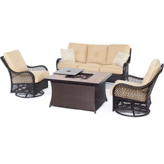Hanover Orleans Tan Wood Outdoor 4-piece Woven Lounge Set with Fire Pit Table
