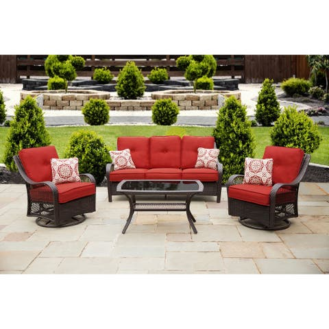 Hanover ORLEANS4PCSW-B-BRY Orleans Autumn Berry Wood 4-piece Outdoor All-weather Patio Set