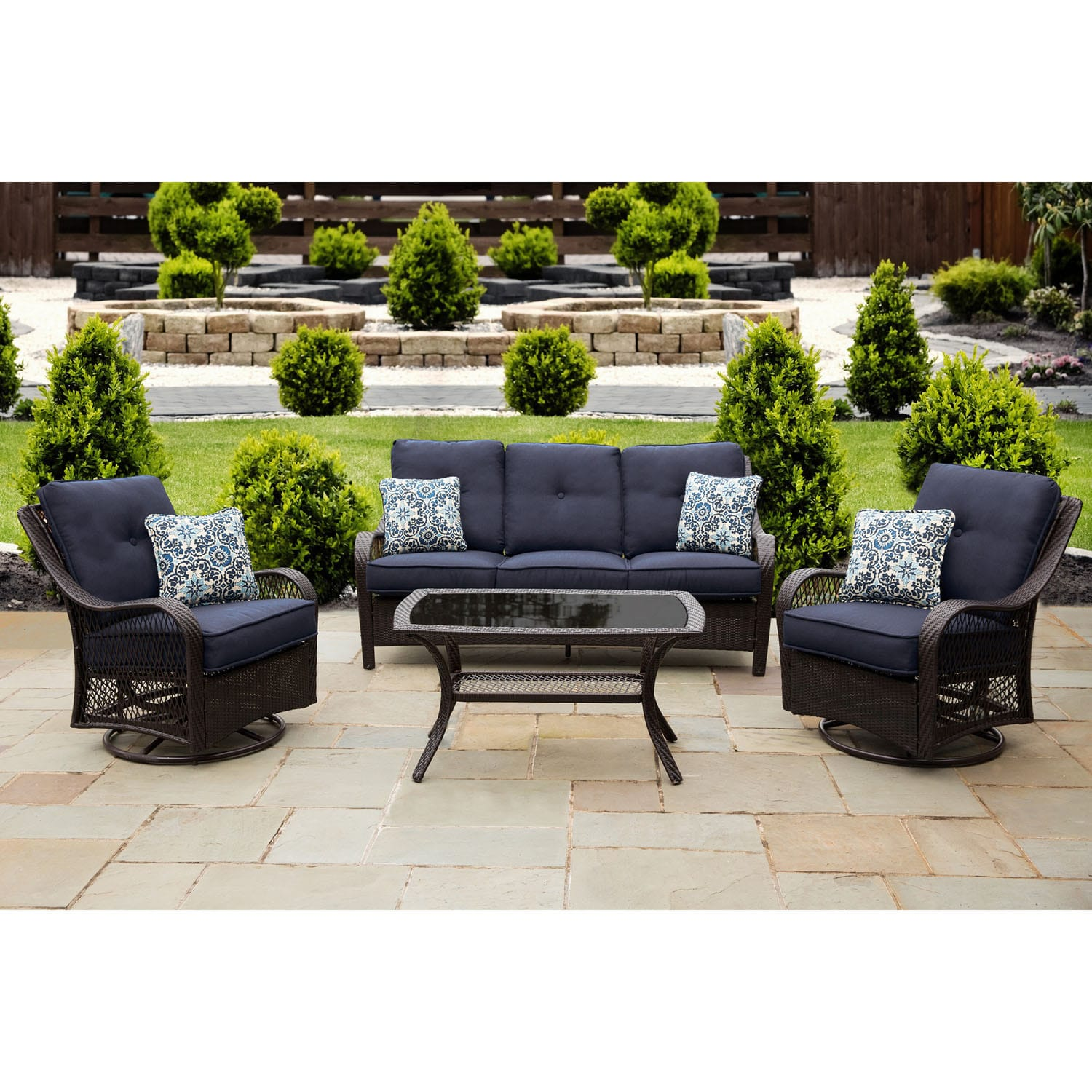 Hanover Orleans Blue Wood Outdoor Four Piece All Weather Patio Set