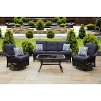 Hanover Orleans Blue Wood Outdoor Four-piece All-weather Patio Set