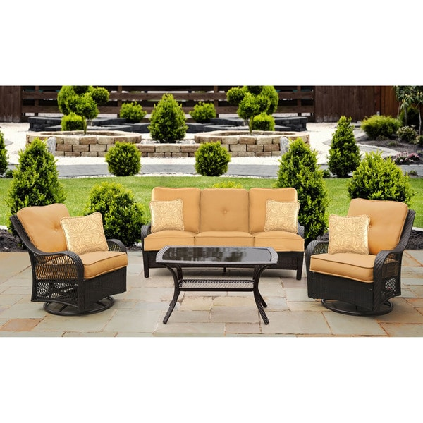 Shop Hanover Orleans Tan Resin Outdoor 4 Piece All Weather Patio Set Free Shipping Today