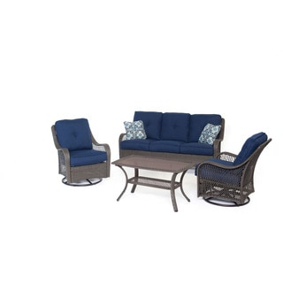 Hanover ORLEANS4PCSW-G-NVY Orleans Navy Blue Resin Four-piece Outdoor All-weather Patio Set