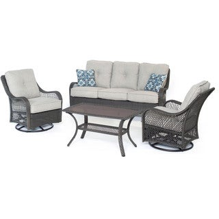 Hanover ORLEANS4PCSW-G-SLV Orleans Silver Lining Wicker 4-piece Outdoor All-weather Patio Set