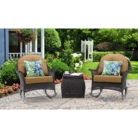 Hanover Outdoor San Marino 3-piece Rocking Chat Set in Country Cork