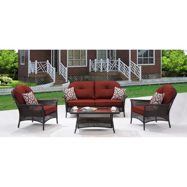 hanover smar 4pc red san marino crimson red steel 4 piece outdoor patio set rh overstock com 5 Piece Outdoor Patio Set Round Patio Furniture Sets