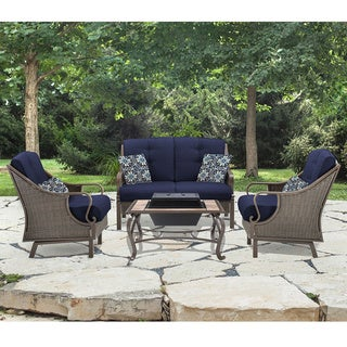 Hanover Outdoor Ventura Navy Blue Aluminum 4-piece Conversation Set with Wood-Burning Fire Pit