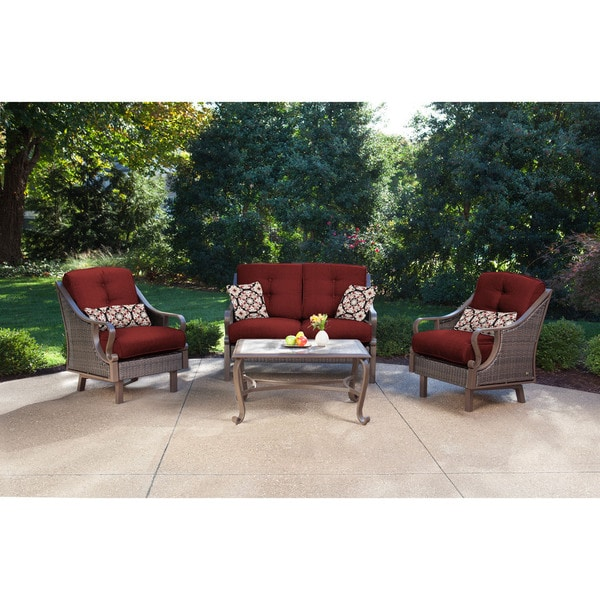 Hanover VENTURA4PC-RED Ventura Crimson Red Aluminum 4-piece Outdoor Patio  Set - Hanover VENTURA4PC-RED Ventura Crimson Red Aluminum 4-piece
