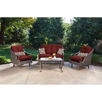 Hanover VENTURA4PC-RED Ventura Crimson Red Aluminum 4-piece Outdoor Patio Set