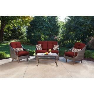 Hanover VENTURA4PC RED Ventura Crimson Red Aluminum 4 Piece Outdoor Patio  Set