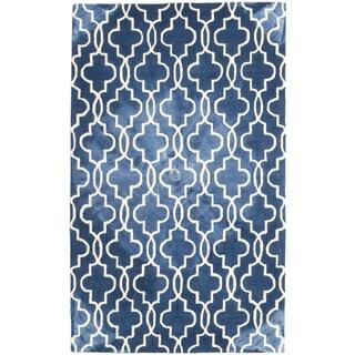 Ecarpetgallery Blue/Ivory Cotton/Wool Handmade Dip Dyed Rug (5'0 x 8'0)