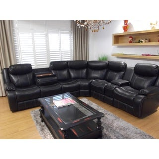 Genesis Power Home Entertainment Black Faux Leather Sectional