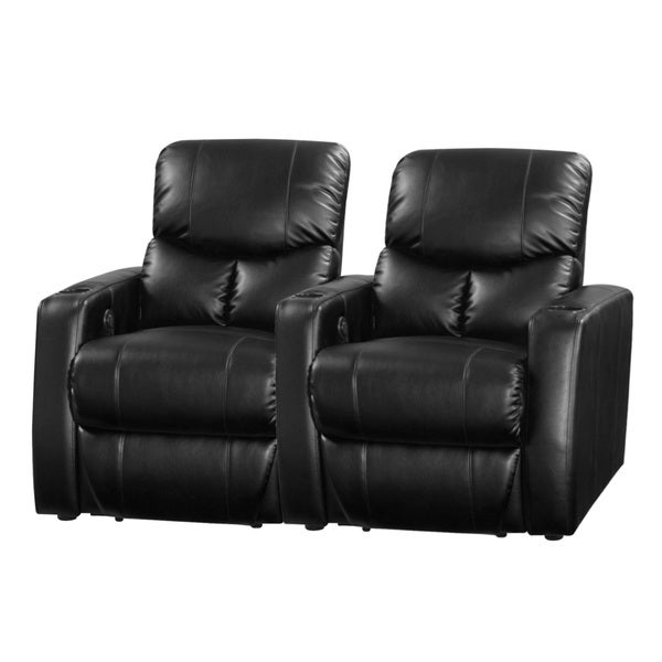 Shop Applause Home Theater Seating Group Black Bonded Leather Two