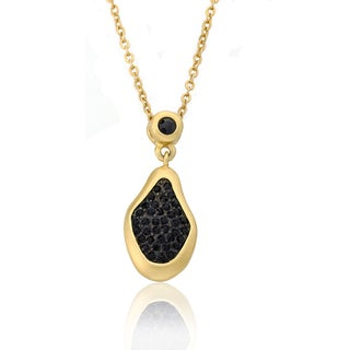 Riccova Cosmopolitan 14k Gold Overlay Black Crystal Pendant Necklace