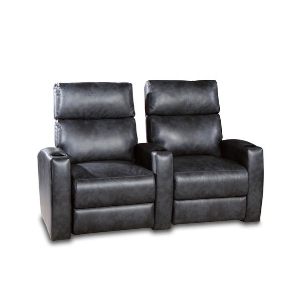 Galaxy Home Theater Seating Charcoal Grey Faux Leather Gel